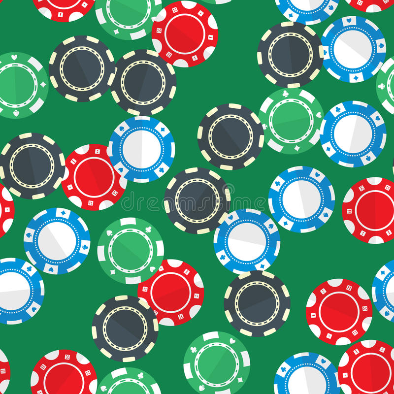 Casino gambling chips seamless pattern. Casino gambling chips randomly placed over green background. Vector seamless pattern. Repeating texture in EPS8 format stock illustration
