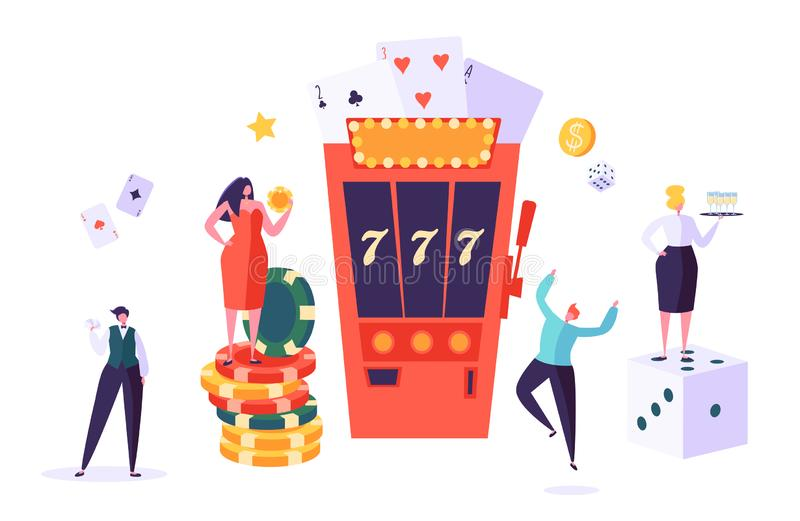 Casino and Gambling Concept. People Characters Playing in Games of Fortune. Man and Woman Play Poker, Roulette, Slot. Machine. Vector Illustration royalty free illustration