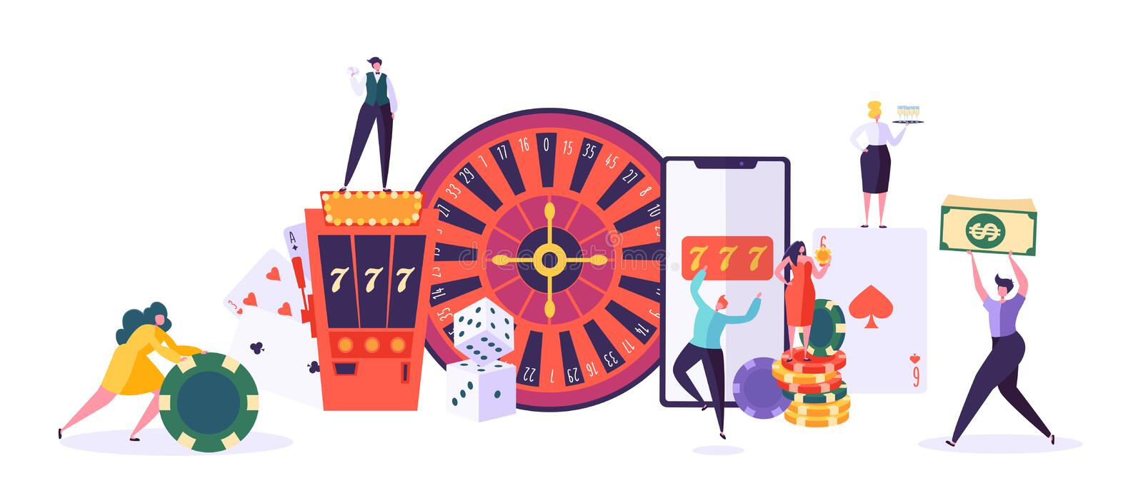 Casino and Gambling Concept. People Characters Playing in Games of Fortune. Man and Woman Play Poker, Roulette, Slot vector illustration