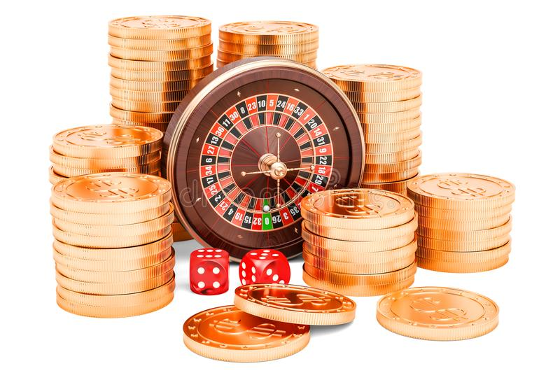 Casino and gambling concept. Roulette with dice and golden coins royalty free illustration