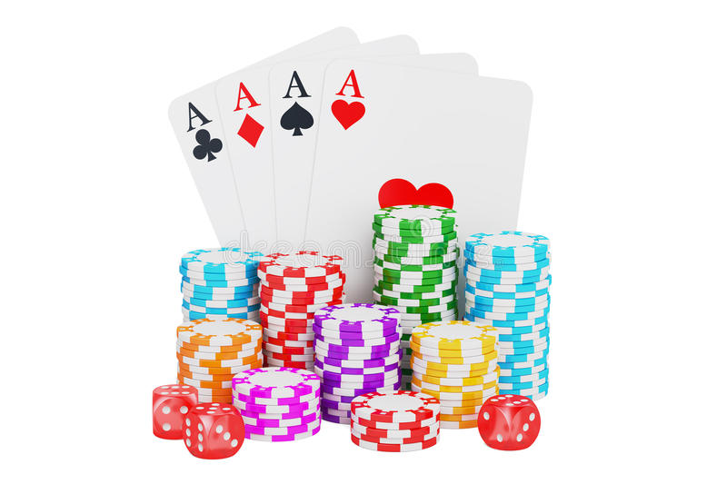 Casino, gambling and entertainment concept. 3D rendering. On white background royalty free illustration