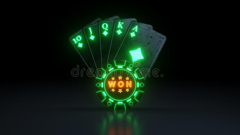 Casino Poker Cards Concept Royal Flush in Diamonds With Neon Lights Isolated On The Black Background - 3D Illustration. Casino Gambling Futuristic Concept, Poker royalty free illustration