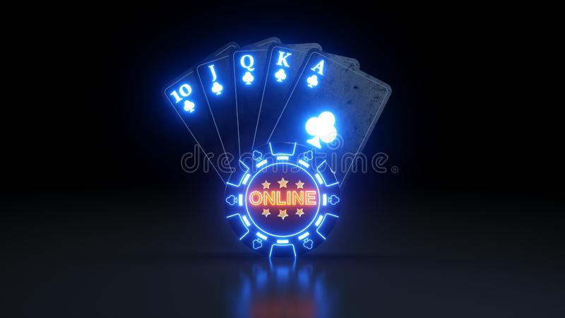 Online Casino Royal Flush in Clubs Poker Cards With Neon Lights Isolated On The Black Background - 3D Illustration. Casino Gambling Futuristic Concept, Poker stock illustration