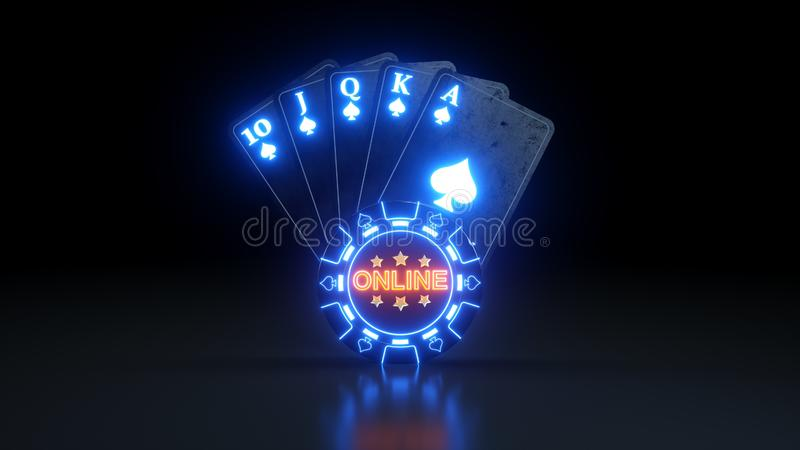 Online Casino Royal Flush in Spades Poker Cards With Neon Lights Isolated On The Black Background - 3D Illustration. Casino Gambling Futuristic Concept, Poker stock illustration