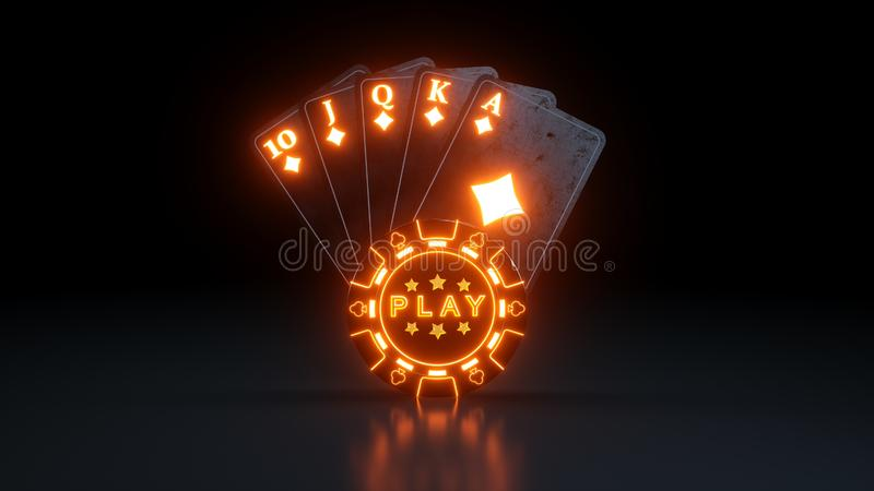 Casino Gambling Concept Royal Flush in Diamonds Poker Cards With Neon Lights Isolated On The Black Background - 3D Illustration. Casino Gambling Futuristic stock illustration