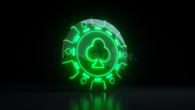 Gambling Chips in Clubs Symbol Concept With Neon Lights Isolated On the Black Background - 3D Illustration. Casino Gambling Futuristic Concept, Poker Chips 3D vector illustration