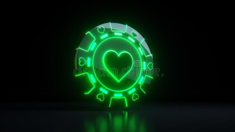 Gambling Chips in Hearts Symbol Concept With Neon Lights Isolated On the Black Background - 3D Illustration. Casino Gambling Futuristic Concept, Poker Chips 3D vector illustration