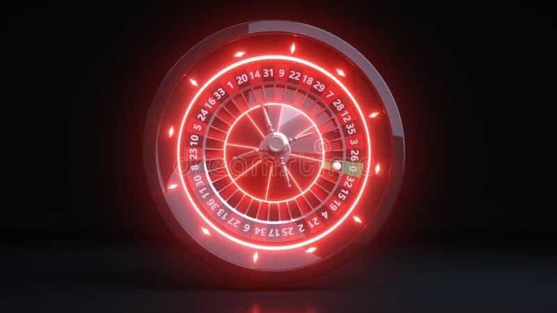 Casino Roulette Wheel Gambling Concept With Neon Red Lights - 3D Illustration. Casino Gambling Futuristic Concept, Roulette Wheel 3D Illustration on the Black stock illustration