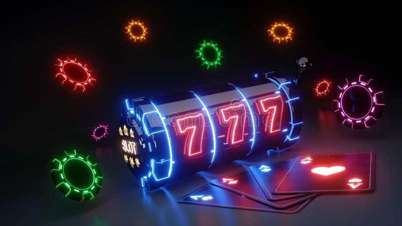 Gambling Slot Machine and Chips Concept With Colorful Neon Lights Isolated On The Black Background - 3D Illustration royalty free illustration