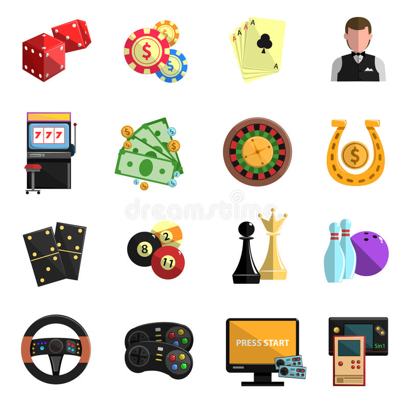 Casino gambling games flat icons set. Casino club online for computer gambling games with cards deck flat icons set abstract isolated vector illustration stock illustration