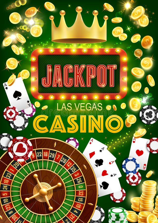Gambling game, casino jackpot and fortune wheel. Casino gambling games, vector. Roulette wheel of fortune, poker playing cards and dices. Golden crown, suits and royalty free illustration