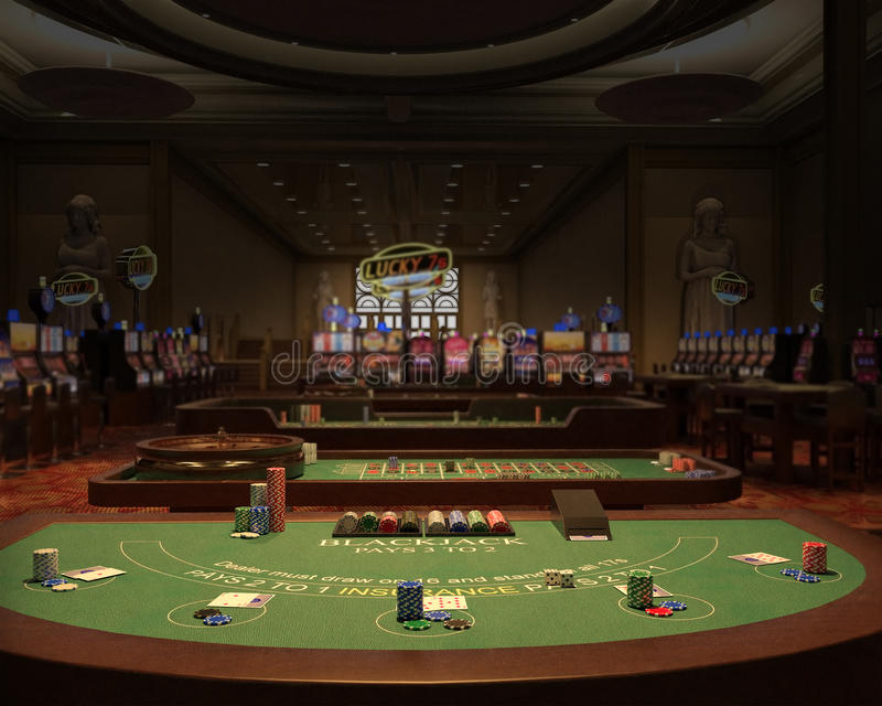 Casino, Gambling Hall, Blackjack Illustration royalty free illustration
