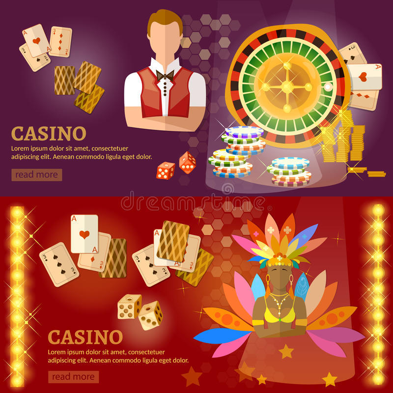 Casino and gambling house banners. Playing cards poker baccarat game industry vector illustration vector illustration
