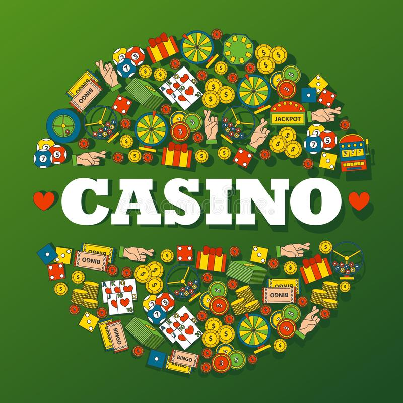 Casino gambling icons in round frame composition, vector illustration. Decorative cover for casino, gambling club. Symbols of luck and fortune, entertainment royalty free illustration