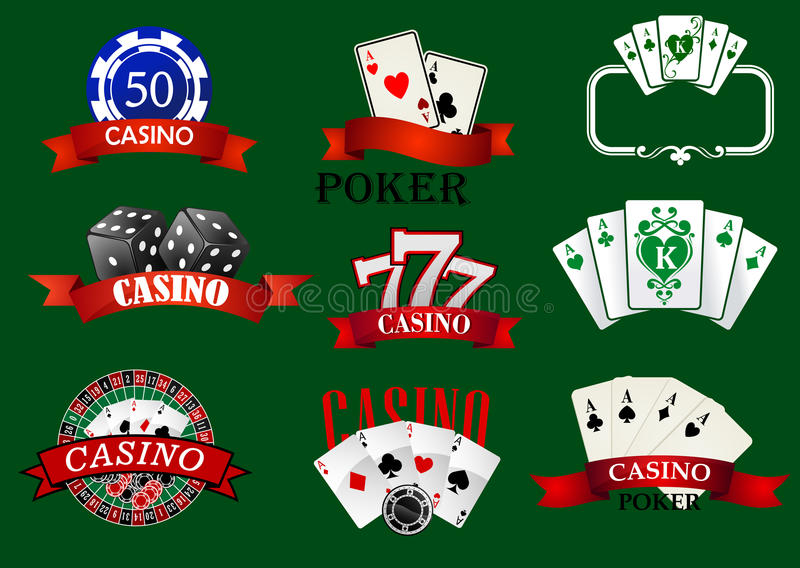 Casino and gambling icons set. With casino chips, bet, roulette, dice and cards royalty free illustration