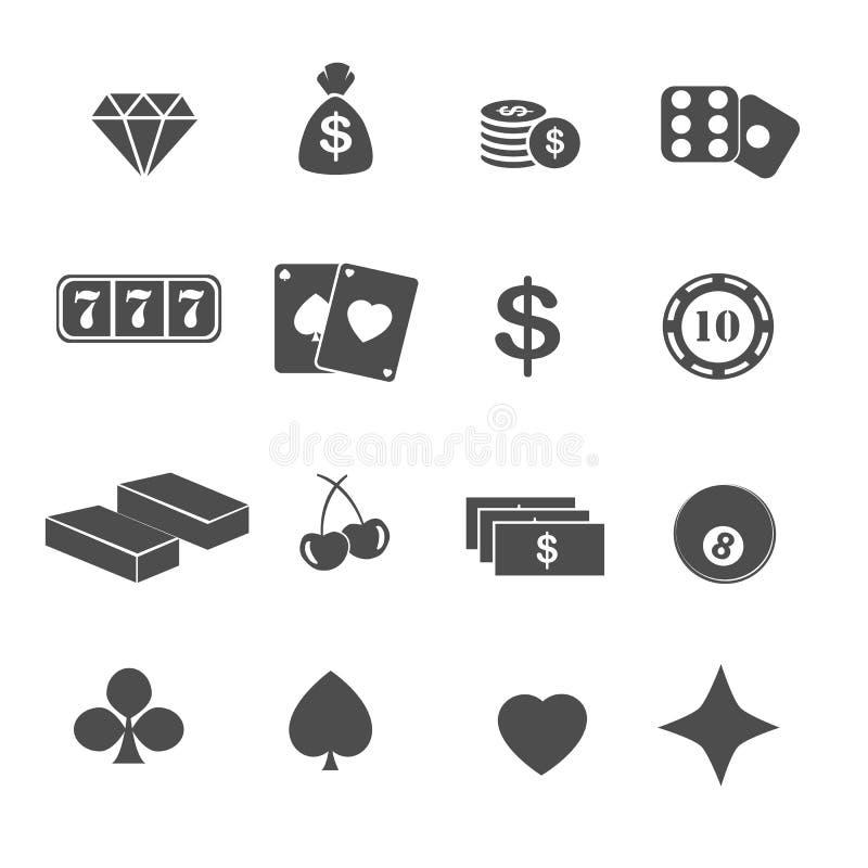 Casino and gambling icons set. On white stock illustration