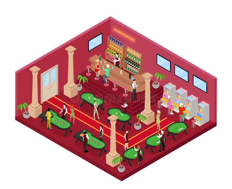 Casino Gambling Interior with Roulette and Croupier. Isometric flat 3d illustration. Casino Gambling Interior with Roulette and Croupier. Isometric vector flat stock illustration
