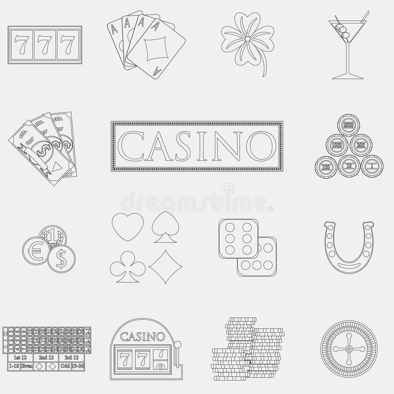 Casino and gambling line icons set with slot machine and roulette, chips, poker cards, money, dice, coins, horseshoe flat design. Vector illustration vector illustration