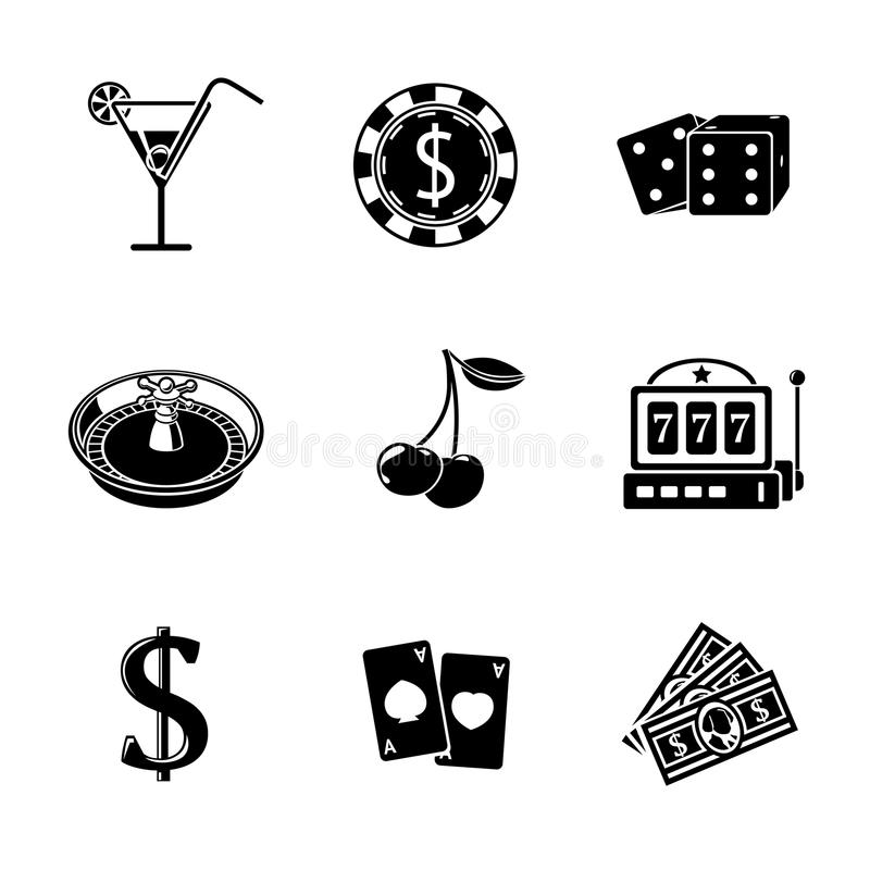 Casino gambling monochrome icons set with - dice. Poker cards, chip, cherry, slot machine, roulette, martini drink, money, dollar sign. vector illustration vector illustration