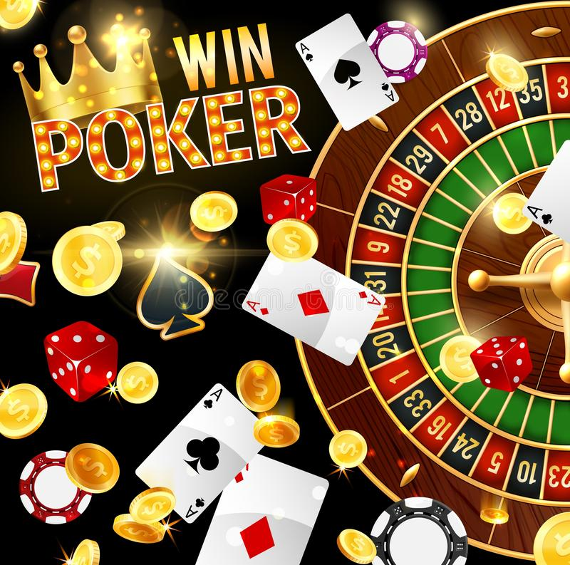 Casino, gambling and poker, roulette wheel stock illustration