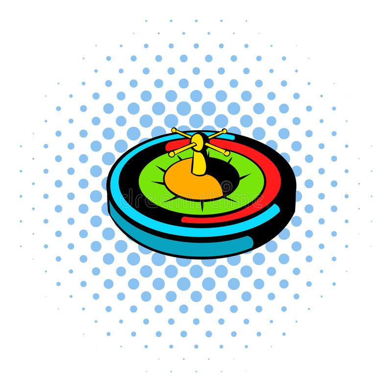 Casino gambling roulette icon, comics style vector illustration
