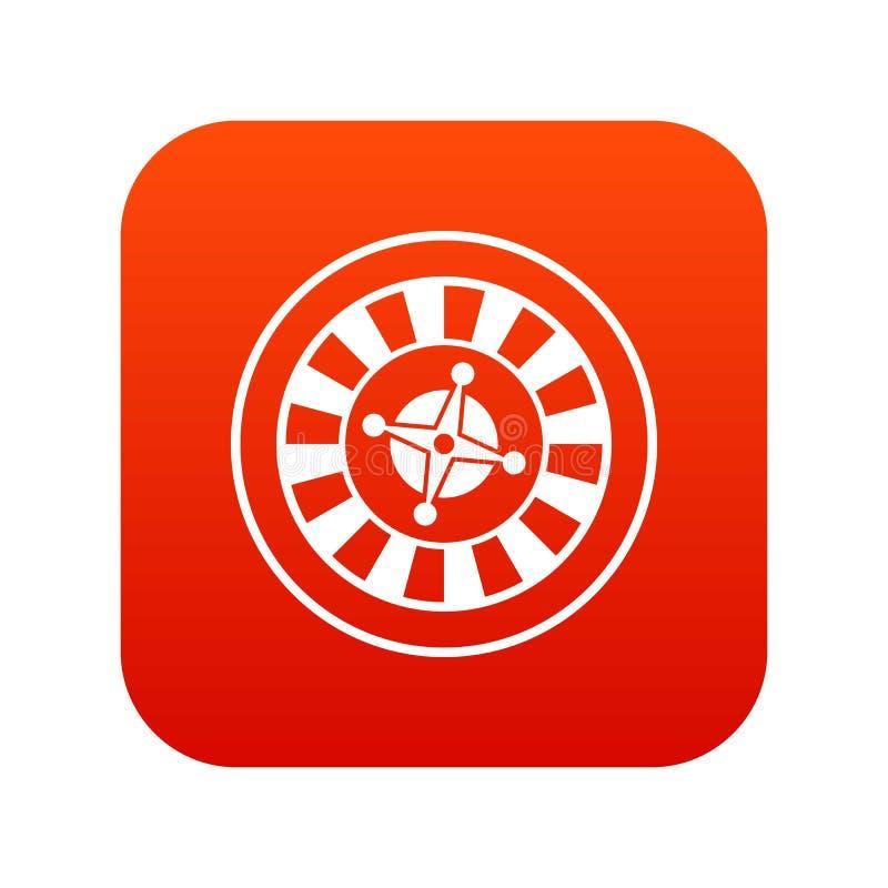 Casino gambling roulette icon digital red stock illustration