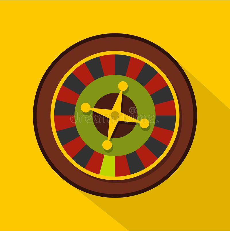 Casino gambling roulette icon, flat style. Casino gambling roulette icon. Flat illustration of casino gambling roulette icon for web isolated on yellow stock illustration