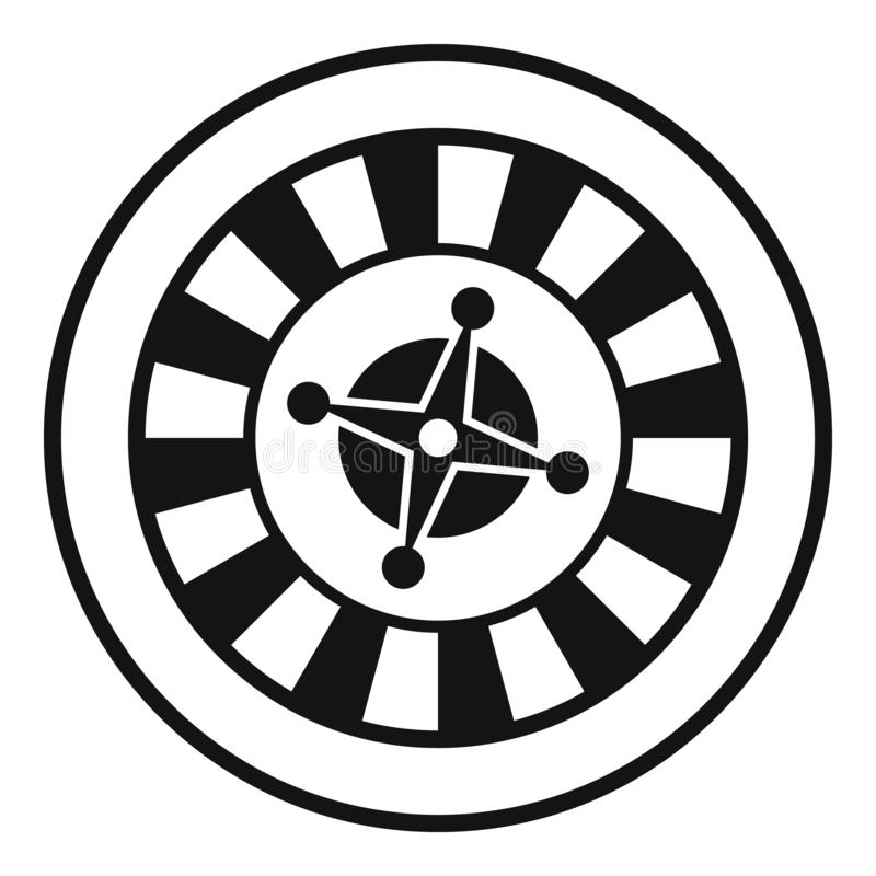 Casino gambling roulette icon, simple style. Casino gambling roulette icon. Simple illustration of casino roulette icon for web stock illustration