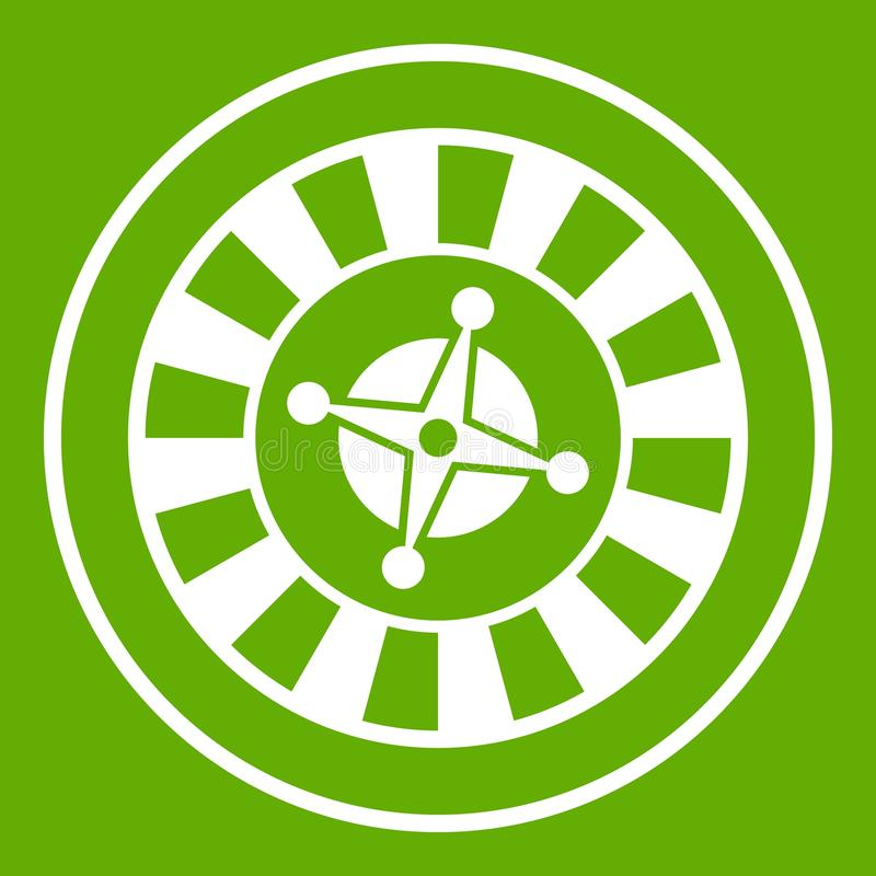 Casino gambling roulette icon green stock illustration