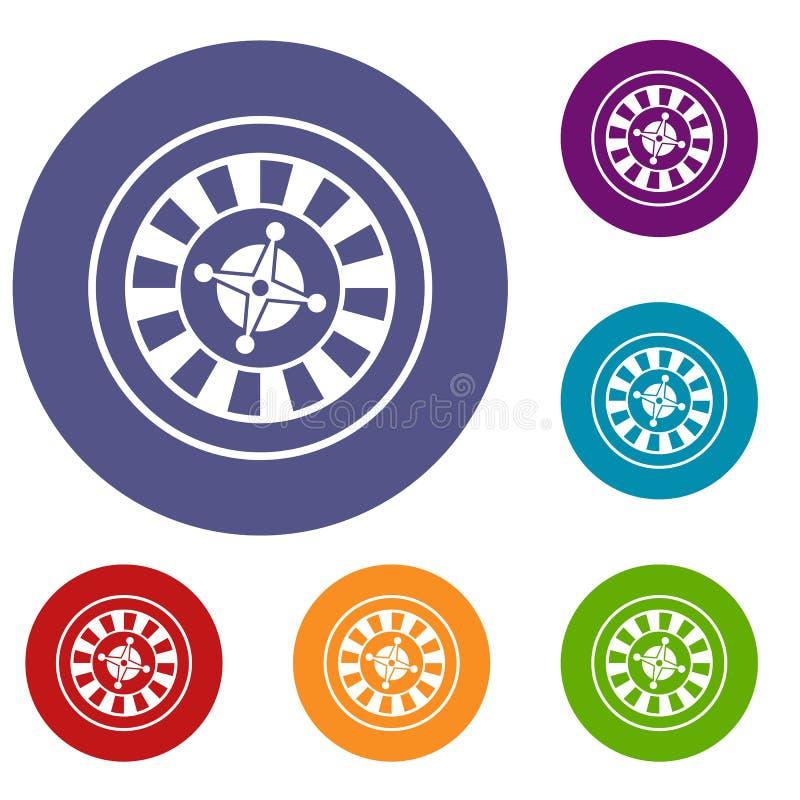 Casino gambling roulette icons set stock illustration