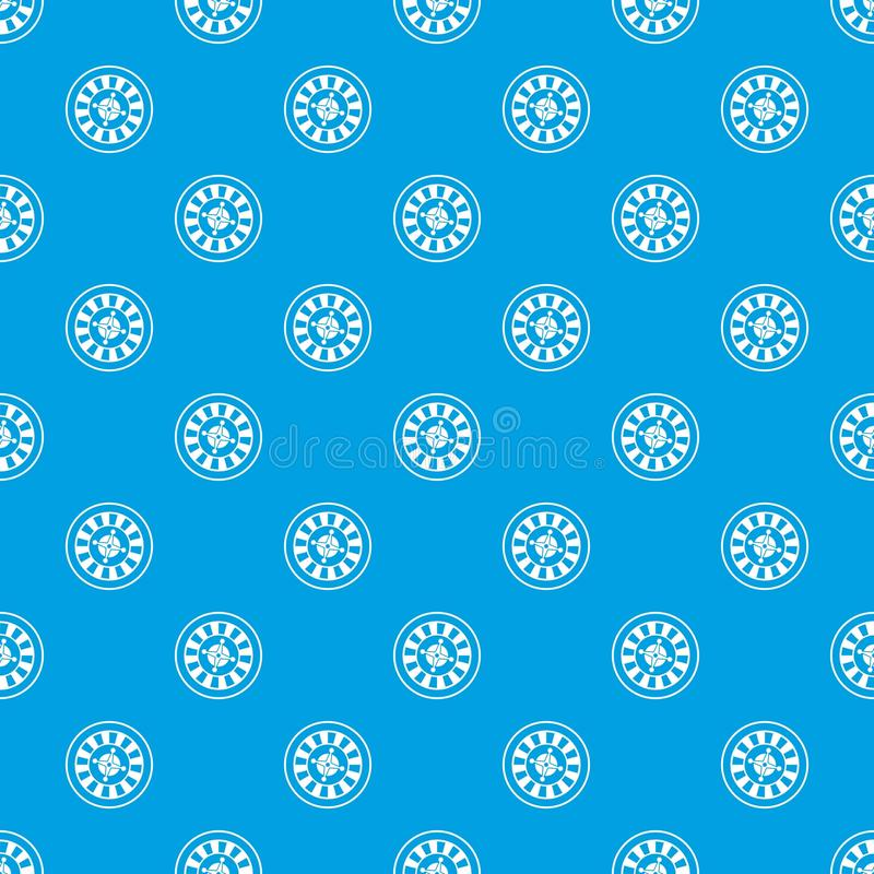 Casino gambling roulette pattern seamless blue. Casino gambling roulette pattern repeat seamless in blue color for any design. Vector geometric illustration stock illustration