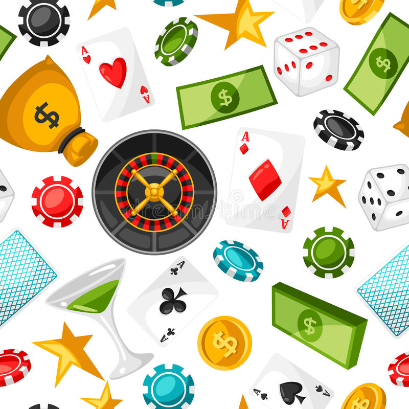 Casino gambling seamless pattern with game objects.  stock illustration