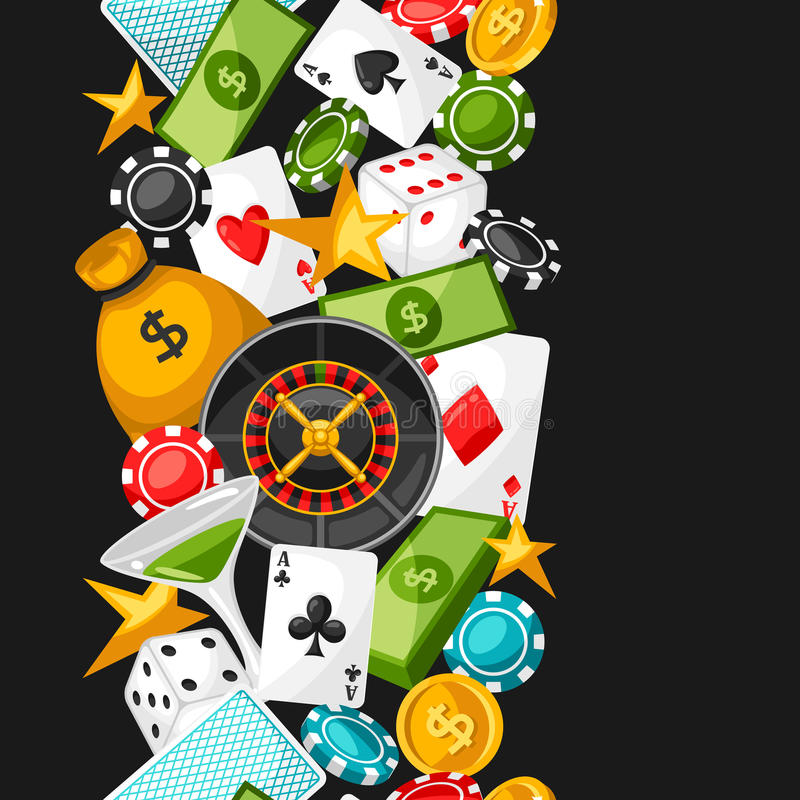 Casino gambling seamless pattern with game objects.  royalty free illustration