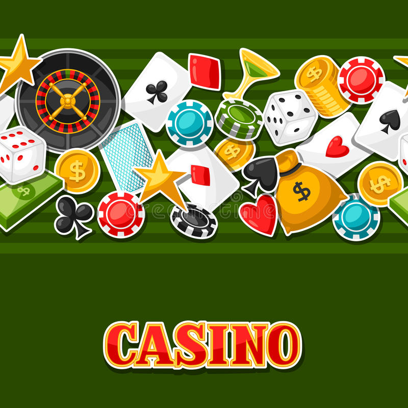Casino gambling seamless pattern with game sticker objects.  vector illustration