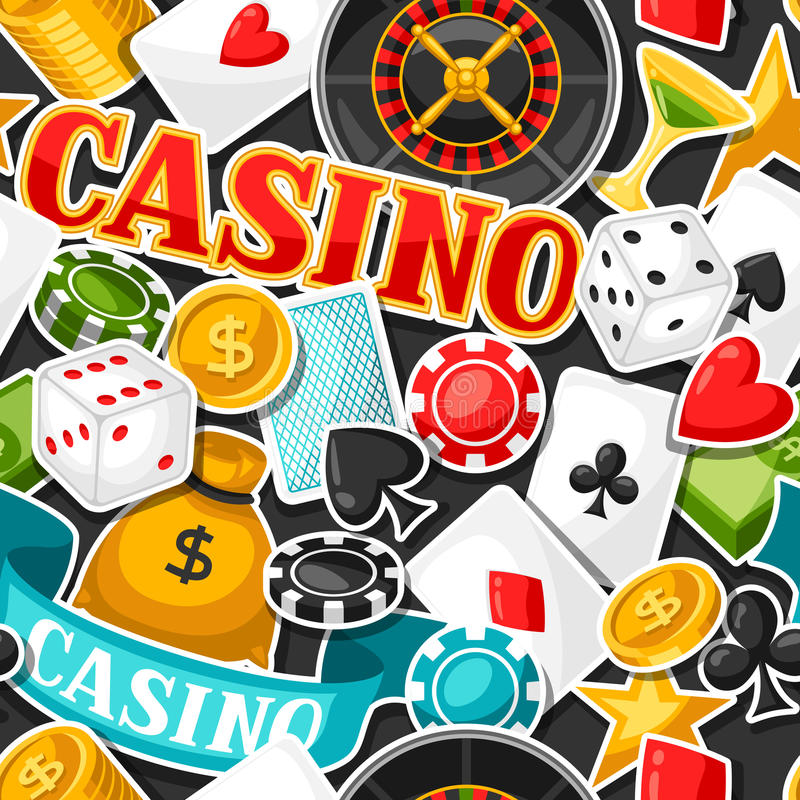 Free Casino Gambling Seamless Pattern With Game Sticker Objects Stock Images - 78675074