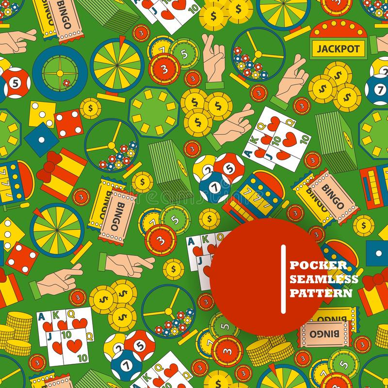 Casino gambling symbols in seamless pattern, vector illustration. Flat icons of playing cards, roulette, casino chips. And lottery. Gamble industry, chance to vector illustration