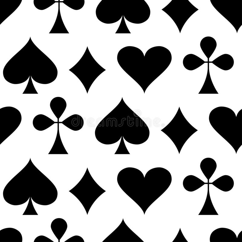 Casino gambling theme. Seamless pattern with playing card suits. Poker card suits - hearts, clubs, spades and diamonds. Vector royalty free illustration