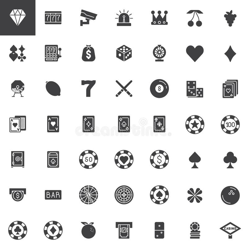 Casino and gambling vector icons set. Modern solid symbol collection, filled style pictogram pack. Signs, logo illustration. Set includes icons as roulette vector illustration