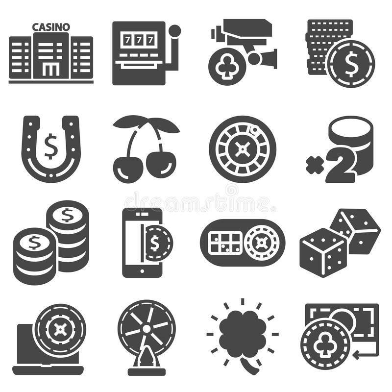 Casino and gambling vector icons set. On white background stock illustration