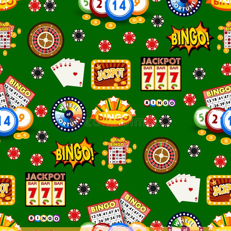 Casino gambling win luck fortune gamble play game seamless pattern background risk chance icons success vegas roulette royalty free illustration