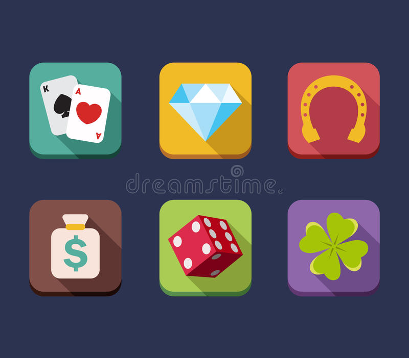 Casino game of fortune gambling, roulette, slot. Machine icons set isolated vector illustration stock illustration