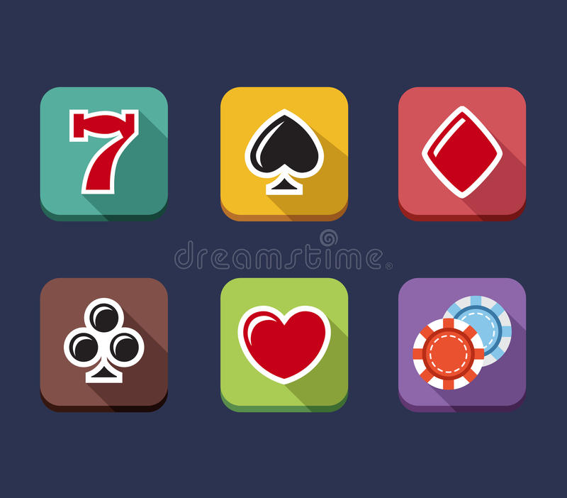 Casino game of fortune gambling, roulette, slot. Machine icons set isolated vector illustration vector illustration