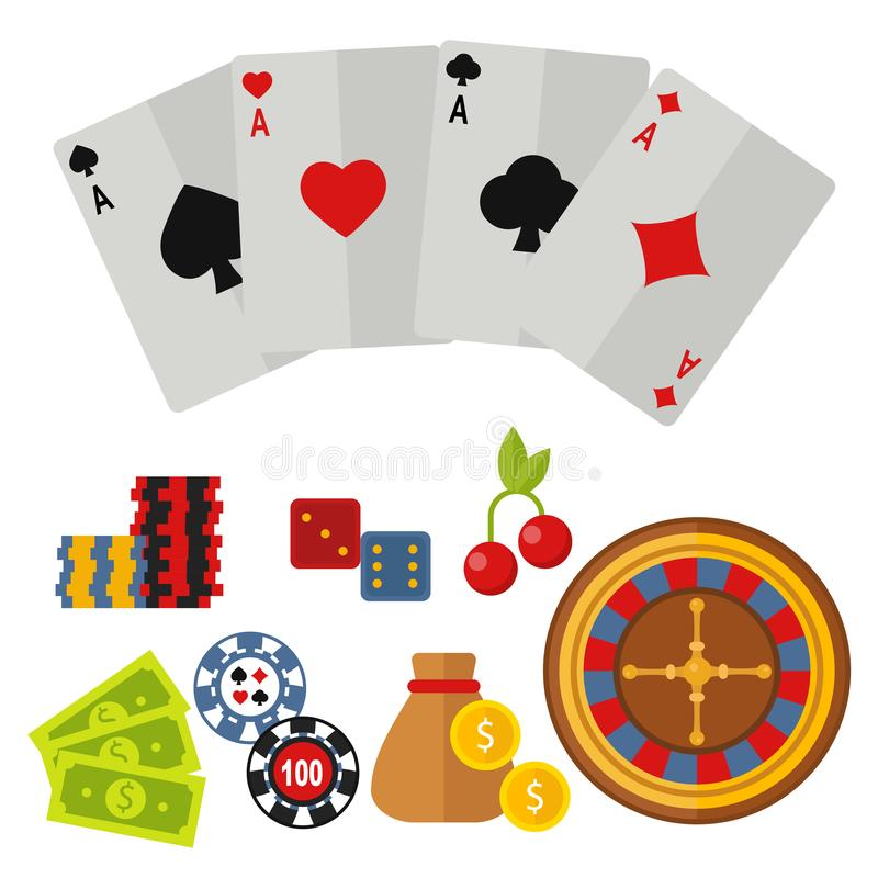 Casino icons set with roulette gambler joker slot machine poker game vector illustration. Casino game icons poker gambler symbols and casino blackjack cards royalty free illustration