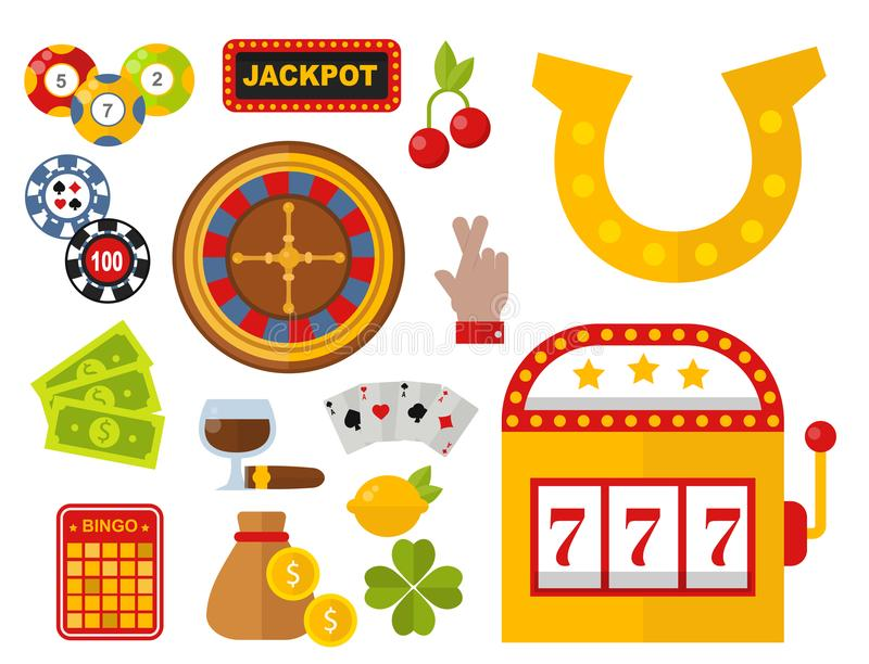 Casino icons set with roulette gambler joker slot machine poker game vector illustration. Casino game icons poker gambler symbols and casino blackjack cards royalty free illustration