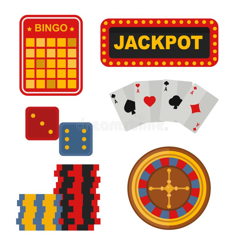 Casino icons set with roulette gambler joker slot machine poker game vector illustration. stock illustration
