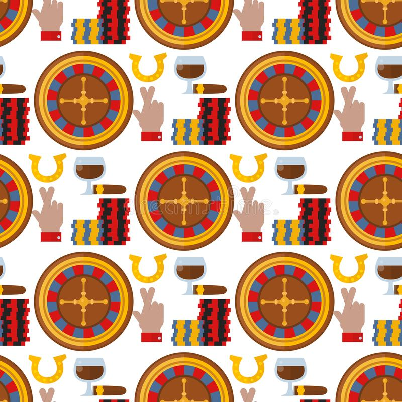 Casino roulette gambler joker slot machine poker game seamless pattern background vector illustration. Casino game poker gambler symbols and casino blackjack vector illustration