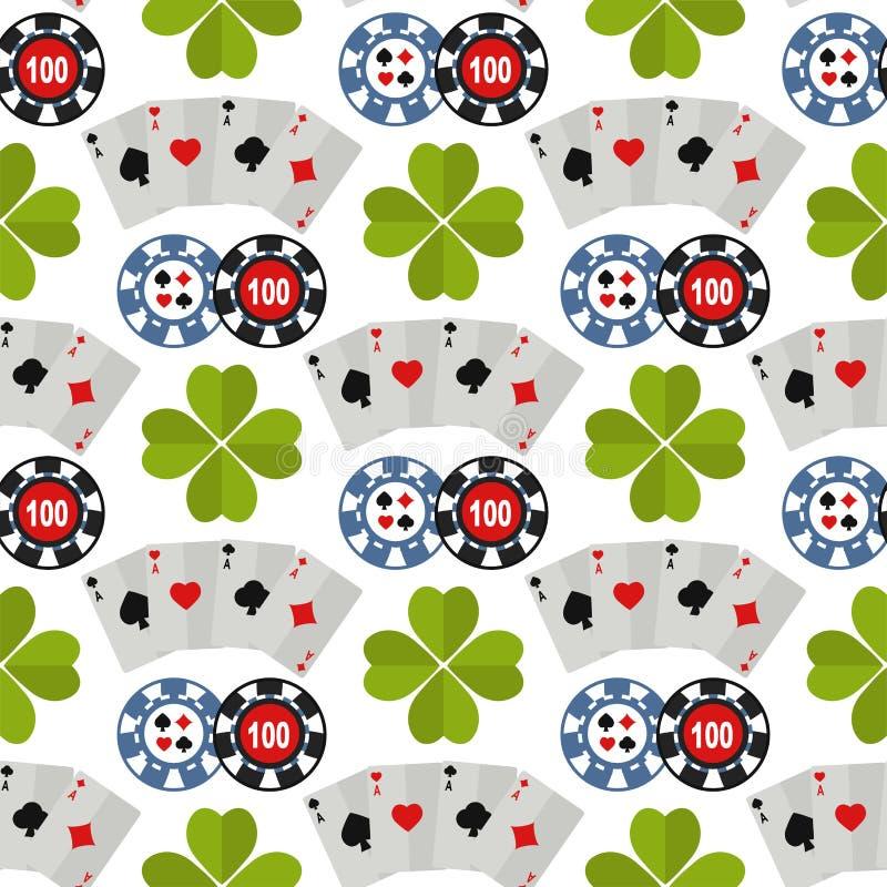Casino roulette gambler joker slot machine poker game seamless pattern background illustration. Casino game poker gambler symbols and casino blackjack cards stock illustration