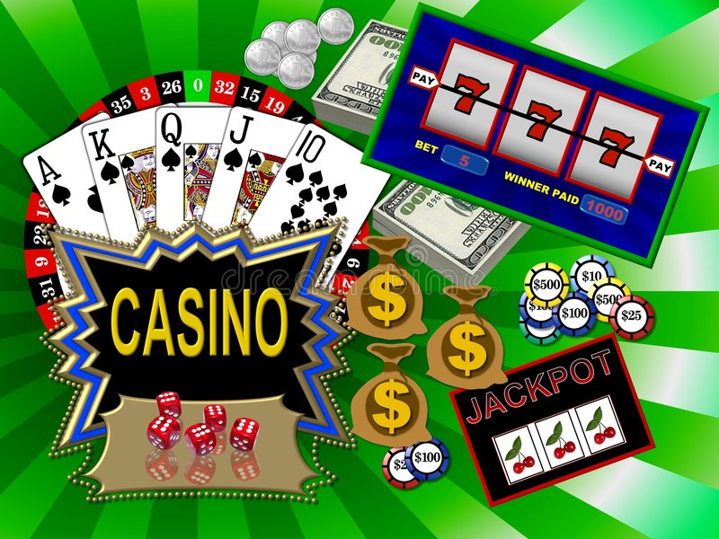 Casino games. Background with many casino games vector illustration