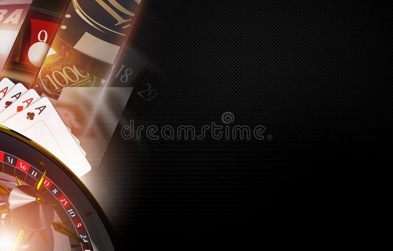 Casino Games Backdrop. Illustration with 3D Rendered Casino Objects. Right Side Dark Copy Space vector illustration