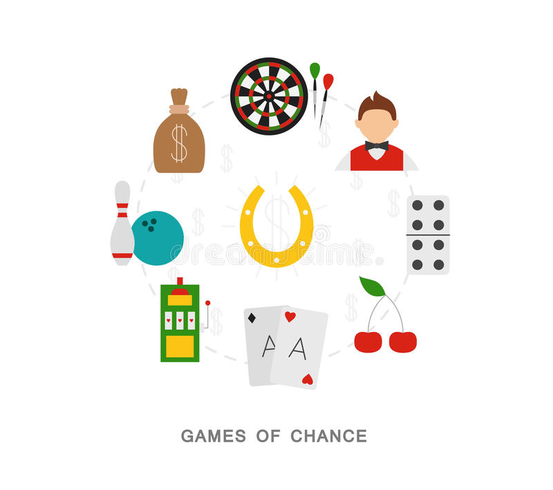 Casino games of chance. Icons vector illustration